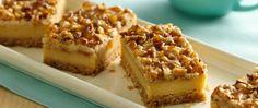 Praline Crumb Caramel Cheesecake Bars. Crust: boxed sugar cookie mix, butter, pecans, toffee bits. Filling: cream cheese, caramel, egg, sugar, flour. Betty Crocker