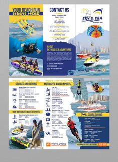 Contest Entry for brochure design for water sports Booklet Design, Brochure Design, Adventure Of The Seas, Adventure Travel, Water Branding, Sport Boats, Rack Card, Sports Flyer, Travel Brochure