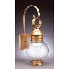 Northeast Lantern Onion 1 Light Outdoor Wall Lantern Finish: Dark Brass, Shade Type: Clear Seedy