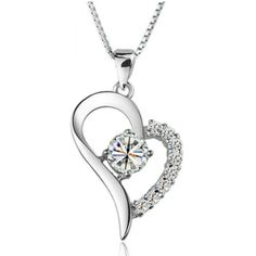 "Rhodium Plated 925 Sterling Silver Glittering Cubic Zirconia Heart Pendant Necklace for Women Including Italian Sterling Silver Box Chain 18"" SS311"