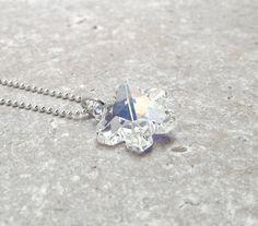 Snowflake Necklace Swarovski Crystal by GirlBurkeStudios on Etsy, $32.00