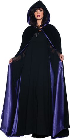 velvet and satin hooded cape perfect for witch, wizard or vampire costume