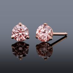 50ctw Pink Diamond Stud Earrings Set In 14k Rose Gold Pure Grown Diamonds