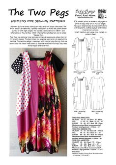 """Lagenlook style dress by independent designer. This is a PDF pattern only. Womens pull over dress with square neck and bell shape silhouette. The Front dress is divided into 3 panels and there are 2 options for making the panels either curved or with right angles. The curved panels version is referred to as """"Round Peg"""" and is VIEW 1. The right angled panels version is called """"Square Peg"""" and is VIEW 2. Optional inset pockets in the side seams. Sleeves have the option be made either short…"""