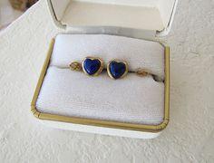 Genuine 14K gold Lapis/lazuli heart Earrings Nice by SwanTreasures