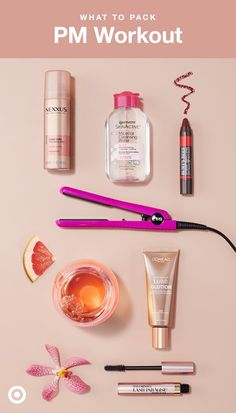 Can't decide between barre and the bar? Do both! Here's how to pack for that quick sweat sesh before heading out for the evening: cleanse skin (Garnier SKINACTIVE Micellar Water); add a luminous glow (L'Oréal Lumi Glotion); smooth out any post-pony crimps (Eva NYC Mini Styling Iron and Nexxus Comb Thru Volume Finishing Mist Hairspray); and finish with a bright lip and bold lashes (Burt's Bees Lip Crayon and L'Oréal Paris Lash Paradise Mascara).