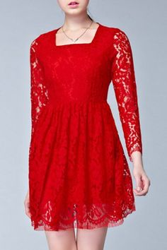Stylish Square Neck Long Sleeve Solid Color Lace Dress For Women