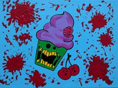 Zombie Cupcake Art Zombie Cupcake Painting Blood by ToniTiger415