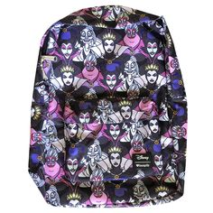 d1e8c48b69e Disney Villains Evil Queen Maleficent Ursula Loungefly School Backpack NEW