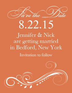 The Aurora Save the Date Cards. Over 150 different colors options per card.