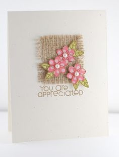 The Mango Boys and Me: PaperSmooches Sparks: You Are Appreciated! - The Mango Boys and Me: PaperSmooches Sparks: You Are Appreciated! Handmade Greetings, Greeting Cards Handmade, Cute Cards, Diy Cards, Burlap Card, Burlap Ribbon, Origami, Tarjetas Diy, Paper Smooches