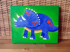 terence the triceratops - hand painted canvas, Auction Ideas, Art Auction, Acrylic Painting Canvas, Watercolor Paintings, Dinosaur Art Projects, Kid Painting, Painting Parties, Kids Canvas Art, Hand Painted Canvas