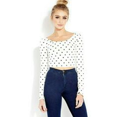 White Forever 21 Long Sleeve Crop Top Size small forever 21 Crop Top with Black polka dots. Only worn a few times. Would look aisle with high waisted skirt! Forever 21 Tops Crop Tops