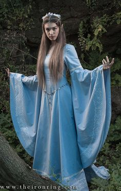 Faneth Elven fantasy medieval wedding dress hand by TheIronRing