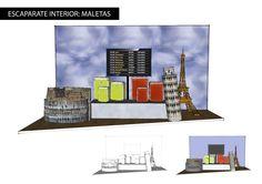 Proyecto escaparate interior para potenciar la venta de maletas. #proyecto #diseño #design #escaparate #maletas #retail #sketchup