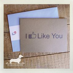 I Like You Note Card  Funny Valentine Card by PickleDogDesign, $4.00