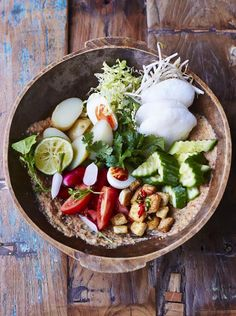 """Gorgeous Gado Gado - the Indonesian mega salad - particularly delightful with this recipe by JAMIE OLIVER ....""""Tossed with the most incredible peanut dressing and served with crunchy prawn crackers, it's a winning combo"""""""