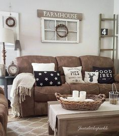 Outstanding Microfiber Couch Farmhouse Living Room Decor Ideas These pillows are so cute! The post Microfiber Couch Farmhouse Living Room Decor Ideas These pillows are so cute!… appeared first on Derez Decor . Brown Couch Living Room, My Living Room, Small Living, Cozy Living, Brown Couch Decor, Brown Living Room Furniture, Bedroom Furniture, Brown Livingroom Ideas, Brown Sofa Grey Walls