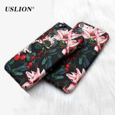 USLION Case For iPhone 7 Retro Flower Cherry Tree Hard PC Phone Cases Cover Back Case Coque For iPhone 7 6 6s Plus 5 5s SE