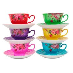 Multi-coloured Birdie Wood tea set
