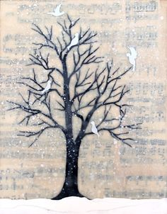 Silver Snow Tree  mixed media encaustic by bumblebellydesigns