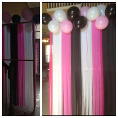 Diy birthday party photo backdrop. Using PVC pipe, streamers, balloons