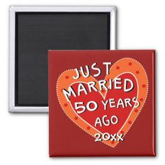50th Anniversary or Any Yr Whimsical Heart Gift Magnet - anniversary gifts ideas diy celebration cyo unique