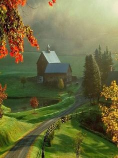 My inner landscape - oldfarmhouse: Back Roads Illustrated Country Farm, Country Life, Country Roads, Wallpaper Paisajes, Fotografia Macro, Autumn Scenery, Winding Road, Back Road, All Nature