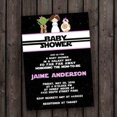 star wars baby girl shower invitation