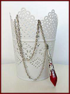 Crystal necklace, Crystal icicle necklace, Red crystal drop necklace, Crystal pendant, Fantasy necklace