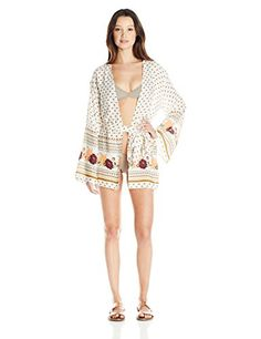 Listed Price: $49.50 Sale Price: $34.57 Long Sleeve Border Print belted Kimono cover-up metal logo badge.... Read more...