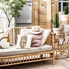 Exotan Bamboo Bank - Want to buy Exotan Bamboo Bank? Order at vtwonen by fonQ - Bamboo Furniture, Garden Furniture, Outdoor Furniture, Outdoor Spaces, Outdoor Living, Outdoor Decor, Interior And Exterior, Interior Design, Bohemian Interior