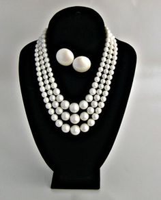3 Strand White Pearl Bead Necklace & Earrings Japan