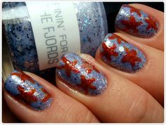 Stars, then on the ring fingers, I'd do blue w white stripes for Independence Day Nails