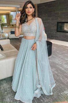 Indian Lehenga, Indian Gowns, Indian Attire, Pakistani Dresses, Indian Wear, Gold Lehenga, Blue Lengha, Punjabi Lehenga, Indian Bridal Outfits