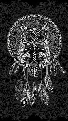 Owl Tattoo Drawings, Art Drawings, Owl Wallpaper Iphone, Owl Background, Desenhos Halloween, Dreamcatcher Wallpaper, Owl Artwork, Owl Tattoo Design, Norse Tattoo