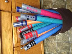 Light saber pool noodle birthday party favors