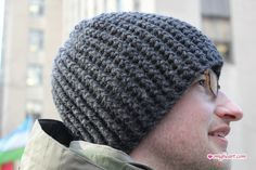 Easy Men's Crochet Hat Pattern   Here is a simple crochet hat done in ribs! Yup, it is a ribbed hat ...