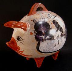 """Vintage Tonala Multicolor Mexico Folk Art Pottery Mexican Piggy Bank 10 1/2"""""""