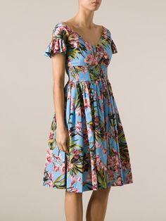 Dolce & Gabbana: blue floral print dress