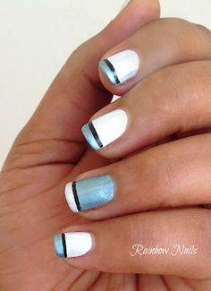 Metallic Blue French Tip  - Rainbow Nails