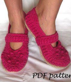 Crochet pattern - Mary Jane Slippers