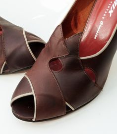 Remix Vintage Shoes, Myrna Peep Toe Heel in Chocolate Brown/Taupe Leather