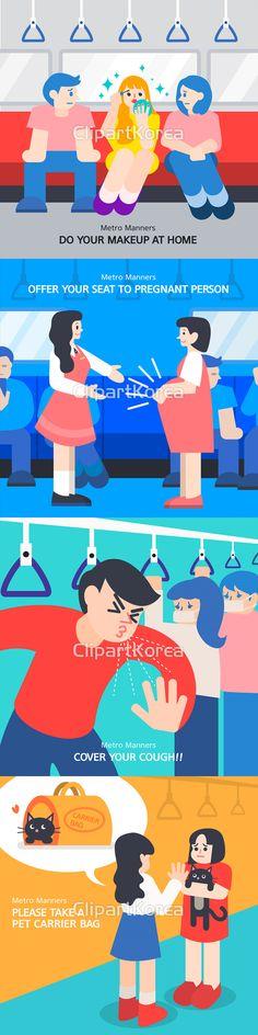 남자 반짝임 불만 불편함 사람 손잡이 앉기 여자 예절 일러스트 지하철 질서 창문 캠페인 플랫디자인 화장 임신 양보 감기 재채기 위생 반려동물…