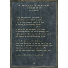 I carry your heart - Poetry Collection - Sugarboo and Co - Charcoal