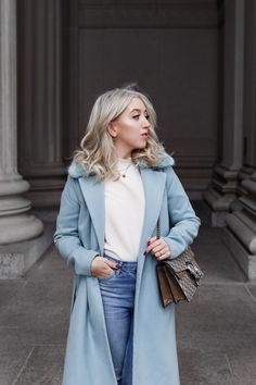 The Perfect Icy Blue Statement Coat