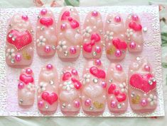 Kawaii nails Gyaru 3D nails deco nails long pink hearts by Aya1gou, $23.80