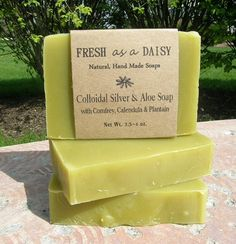 colloidal-silver and aloe-natural-handmade soap with comfrey calendula and plantain by Fresh as a Daisy etsy