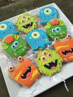 Little Monster Birthday Party Ideas - fun decoration and sweets ideas for baby & toddler monster parties - - Monster birthday party ideas for any age. Fun decor, cupcake, and sugar cookie inspiration for your little monster's next party. Fall Cookies, Cookies For Kids, Iced Cookies, Cute Cookies, Holiday Cookies, Cream Cookies, Little Monster Birthday, Monster 1st Birthdays, Monster Birthday Parties
