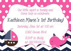 Our little squirt INVITATION - Nautical theme - Birthday - Baby Shower - matching party package also available on Etsy, $9.00